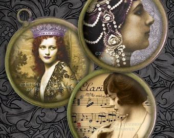 Victorian Burlesque - 1 Inch Circles - Digital Collage Sheet - Ziegfeld Follies, Mata Hari, Parisian Dancers - Printables, Digital Downloads