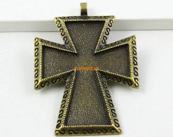5Pcs Antique Brass Cross Charm Cross Pendant 68x48mm (PND592)