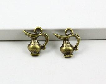 50Pcs Antique Brass Kettle Charms Kettle Pendants 14×13mm (PND740)