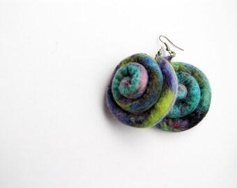 Eco friendly earrings- wool earrings- felt jewelry- nautilus inspired earrings- multicolored- felt earrings- wet felted statement earrings
