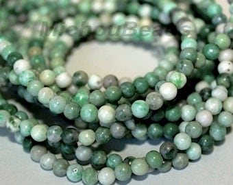 """8"""" Strand - 6mm Green Ching Hai JADE Round Opaque Gemstone Beads - Wholesale Jade Gemstone Beads - Instant Shipping from USA - 5311"""