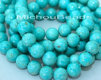 12 AQUA Turquoise 8mm Natural RIVERSTONE - Round Opaque Natural River Stone Gemstone Bead - Instant Ship - USA Seller - Ref 4446