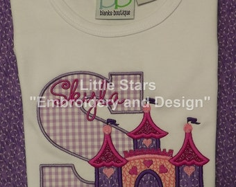 Princess Castle with Initial and Name - Appliqued and Embroidered Shirt