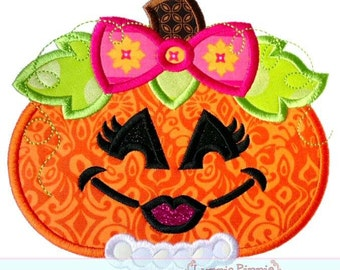 Cute Girly Pumpkin - Appliqued and Personalized