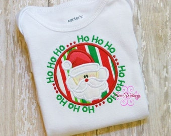 Ho Ho Ho Santa Face in Circle - Appliqued and Personalized