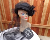 Goth, Costume Top hat, Black Victorian Style Hat, Train of Tulle