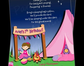 Printable GLAMping Invitations -  Personalized -  Custom - Girl Birthday Sleepover -  GLAM  Camping (BROWN HAIR)