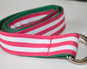 Girls Ribbon Belt Hot Pink and White Stripe Pink Stripe Girls Belt Pink and Green Girls Belt Tween Birthday Gift Teen Birthday Idea