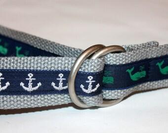 Mens Whale and Anchor Belt Mens Anchor Belt Whale Belt Mens Ribbon Belt Preppy Belt Grey Belt Navy Belt