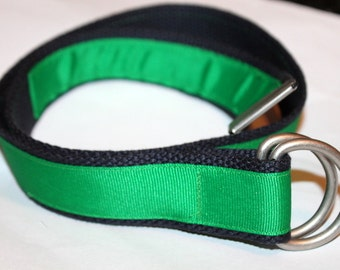 Navy and Green Belt Mens Green Ribbon Belt Ladies Green Ribbon Belt Green and Navy D Ring Belt Preppy Ribbon Belt Big and Tall  Belt