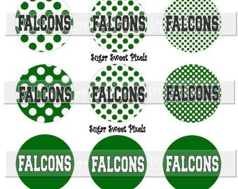 INSTANT DOWNLOAD Falcons Polka Dot Green School Mascot 1 inch circle Bottle cap Images