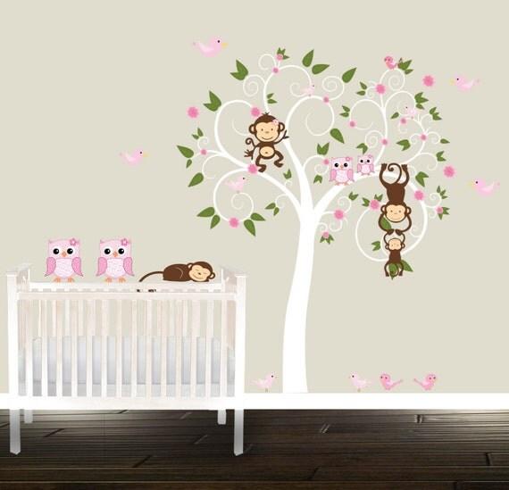 Kinderzimmer ideen für mädchen eule  Niedliche Mädchen Kinderzimmer Baum Rosa Eule Abziehbilder