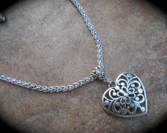"Silver  filigree heart necklace with foxtail chain 16"" with 3"" extender Valentines Day"