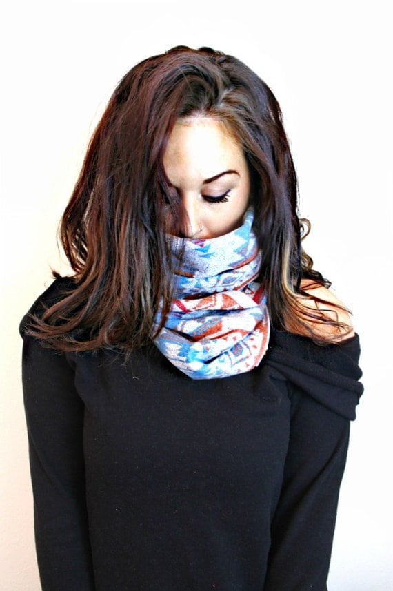 FREE SHIPPING- Tribal Scarf, Hipster Scarf, Aztec Inspired Scarf, Navajo Inspired Scarf, Single Loop Scarf