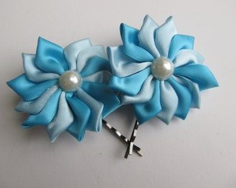 Turquoise and Aqua Satin Flower Bobby Pins
