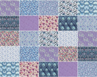 "Twilight Night Light, Liberty print charm pack, blue and purple charm squares, 5"" patchwork squares"