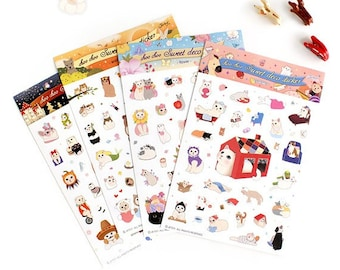 Translucent Sticker Set  - Cats at Home - 4 Sheets