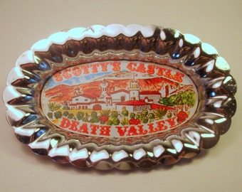 Vintage Souvenir / Scotty's Castle Dish / Metal / Death Valley / California / Desert / Mission Revival