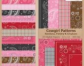 Digital Scrapbook Paper Pack - Bandana, Paisley & Gingham COWGIRL PATTERNS - Instant Download