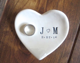 Wedding Gift, ring holder, Engraved Engagement dish,  Heart Bowl, Made to Order