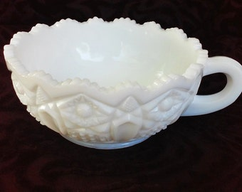 Vintage Milk Glass Berry Bowl with Handle and Sawtooth Edge - Wedding Decor - Centerpiece - Candy Dish