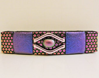 "Small (2.75"") Dichroic Fused Glass Barrette Ponytail Purple Barrette Dichroic Jewelry Pink Hair Barrette Accessories Dots"