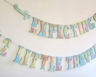Little Travelers, Airplanes, Expecting, Nursery, Baby Shower Banner, Vintage Travel Theme, Map Theme, Banner, Garland, Twins Shower