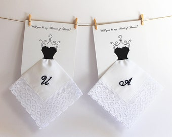 Will you be my Bridemaid Handkerchief, Embroidered Lace Wedding Hankie, Monogrammed Bridesmaid Gift, Bridesmaid Card, Maid of Honor Proposal