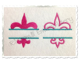 Small Split Fleur De Lis Machine Embroidery Design - Filled and Outline - 3 Sizes