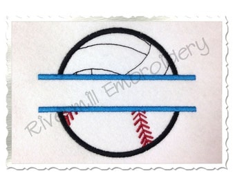 Split Ball Half Volleyball Half Softball / Baseball Applique Machine Embroidery Design - 4 Sizes