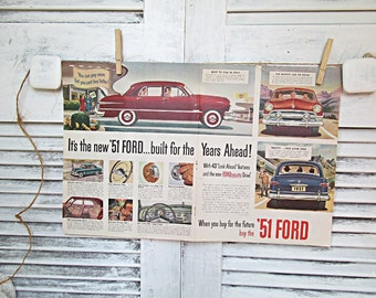 Vintage 1951 Ford Automotive Auto Ad Advertising 1950s Magazine Car Ad Two Page Spread