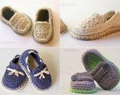 CROCHET PATTERN #120 - Baby Lil' loafers pattern pack comes with all 4 variations - baby button loafer, boat shoe, modern casual loafers,