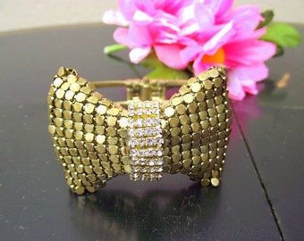 Ornate Gold Metal Mesh Bow cuff Bracelet with Rhinestones - Whiting and Davis