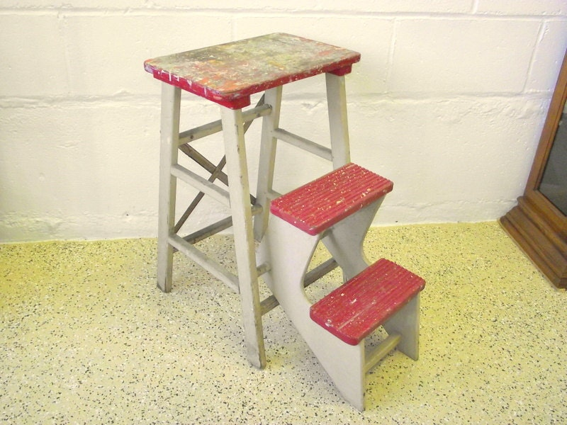 Antique Wood Folding Step Stool Kitchen Rustic Ladder Steps