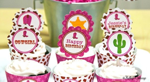 Cowgirl Birthday Party 2 Inch Party Circles, Instant Download, Printable, Cupcake Toppers, Favor Tags, Decorative Circles