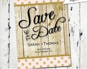 Glitter save the date, Modern Save the Date, printable save the date, wood, sparkle,digital file (JPDF77)