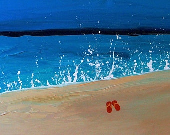 "Ke iki Sunset Splash with red slippers or any color slippers  36""x24"" fine art original painting. wedding date.names written sandcommission"