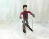 Needle felted boy on skis, sking felt boy, felted boy on skis, Winter Games, boy in gray with skis