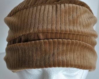 Brown Velour Retro CAP  No More Bad Hair Days