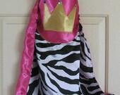 Super Hero Princess Zebra Print Hot Pink Reversible Cape