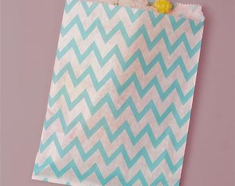 "25ct. Turquoise Blue & White ZIG ZAG CHEVRON 5-1/8""w x 6-3/8h"" Printed Paper Treat Goodie Bags Baggies Candies Popcorn Cookies"