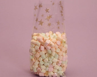 """Small """"GOLD STARS"""" Print Cello Treat Snack Goodie Bags Cellophane Baggies"""
