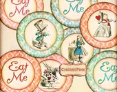 Alice Wedding Cake topper, pink, blue, red, green round images for your Alice in Wonderland tea Party and celebration, party pack available