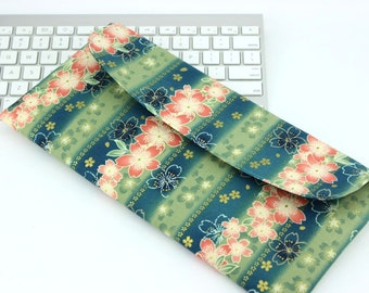 Apple Wireless Keyboard Covers,Gift For Geeky, Kimono Fabrics, Cherry Blossoms Stripes Green