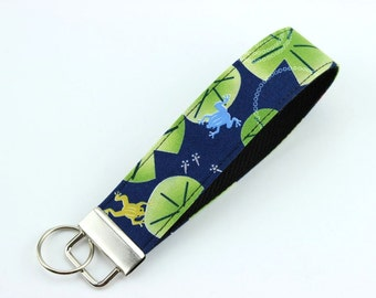 Frogs Wristlet Keychain, Gift For Her, Handmade Wristlet, Navy