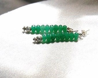 Faceted Emerald Earrings - Post - Sterling Silver 925