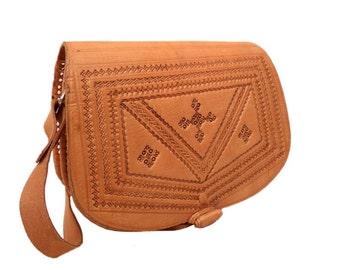 Vintage, Tan Tooled Leather Satchel, Messenger, Cross Body Bag, Shoulder Bag
