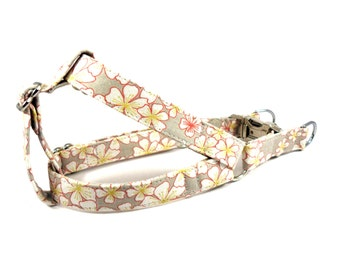 Dog Harness, FLORAL in GRAY Dog Harness, Girl Dog Harness, Dog Step in Harness, Step in Dog Harness, Handmade Dog Harness