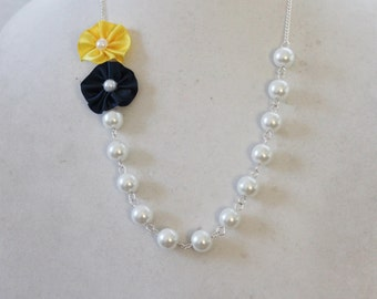 White Pearl with Navy and Yellow Flower Necklace