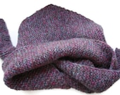 SALE ! Free Shipping Knitted Scarf Bactus Triangle Shape Purple Extra Warm Soft Merino